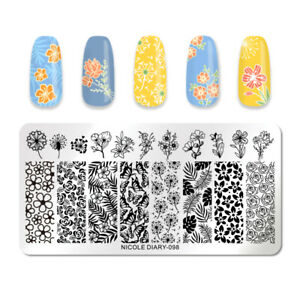NICOLE-DIARY-Rectangle-Nagel-Schablone-Stainless-Steel-Nail-Art-Stencil-098
