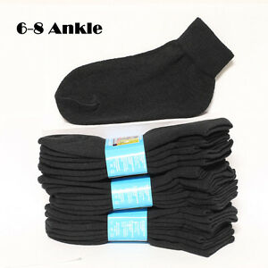 4 12 Pairs Kids Cotton Socks Ankle High Solid Black Heavy Junior Size 6-8 Boys