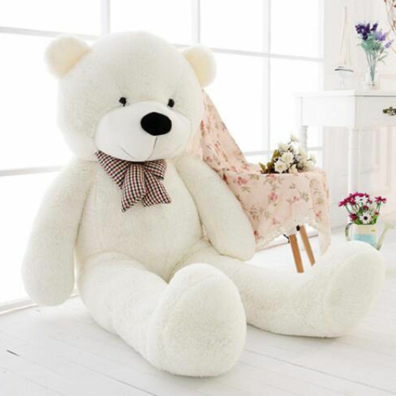 63in.Teddy Bear Stuffed Pillow Plush Soft toys Doll Gift Giant Huge Big bianca