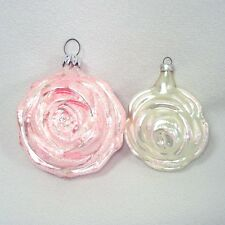 West Germany Pink White Roses Glass Christmas Ornaments
