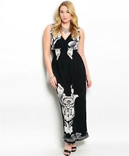 WOMEN'S PLUS SIZE BLACK AND IVORY FLORAL MAXI DRESS 2X NWT