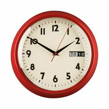 Premier Housewares Wall Clock, Red Metal, Day/Date