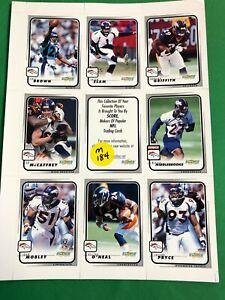 M184/40 NFL Denver Broncos Score Trading Cards Uncut Sheet of 8 2001