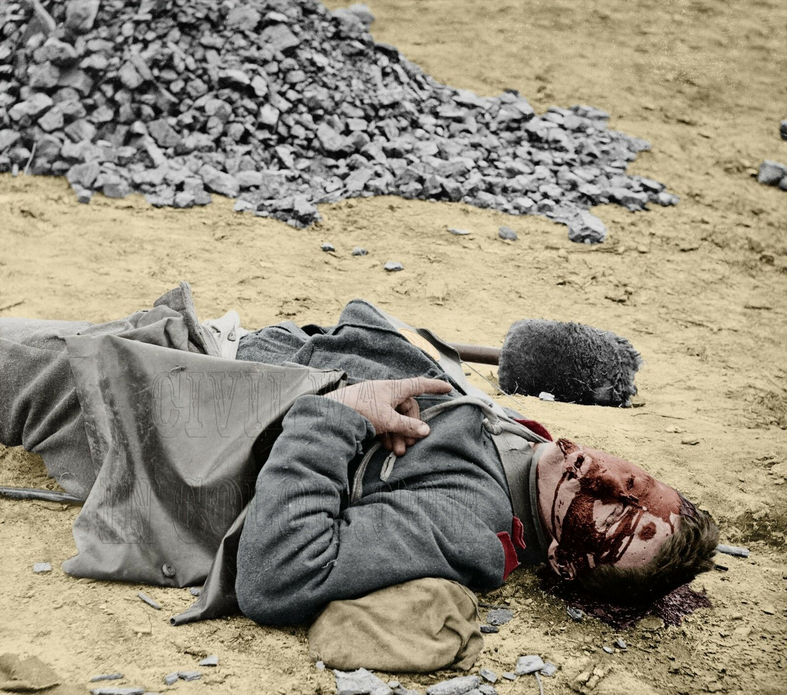 Dead South Carolina Soldier Petersburg VA Farbe Tinted photo Civil War 02548