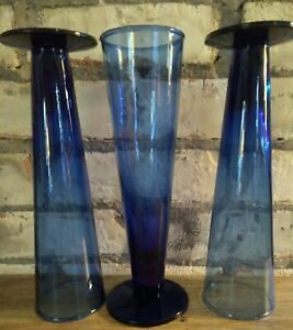 3 Mexican Hand Blown cobalt blue ombre Tall Pilsner footed Beer Glasses