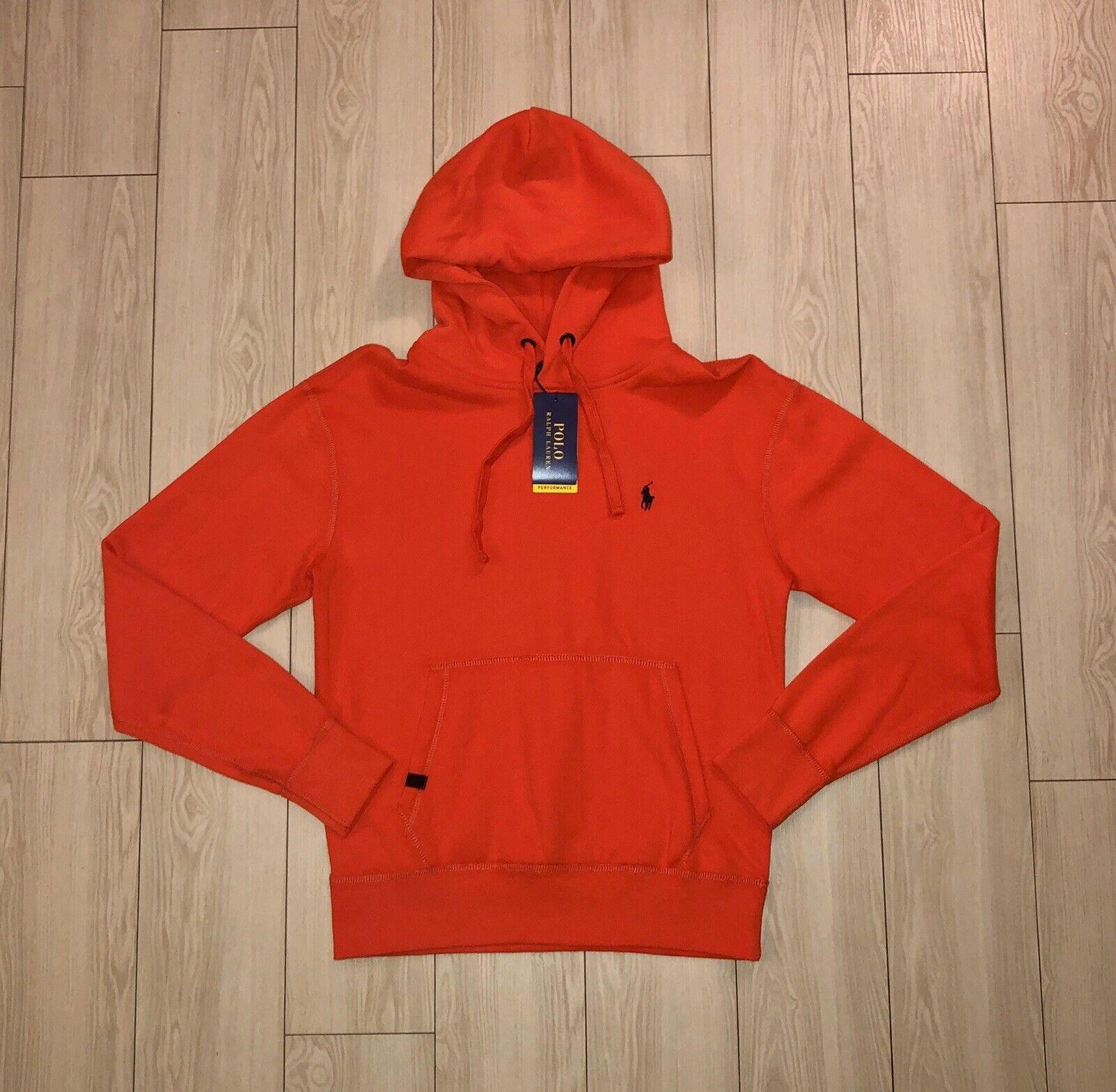 NEW NWT Mens POLO RALPH LAUREN Performance Sweatshirt Sweater Hoodie Orange S Sm