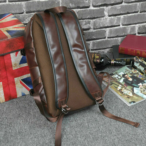 2019 Men Leather Backpack Waterproof Laptop School Bag Travel Bags Rucksack Gift