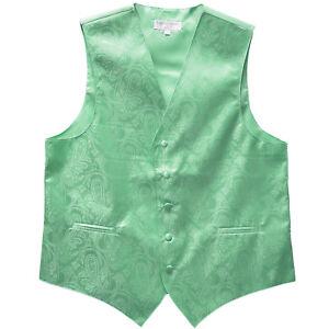 New Polyester Men Tuxedo Vest Waistcoat only Paisley Pattern aqua green wedding