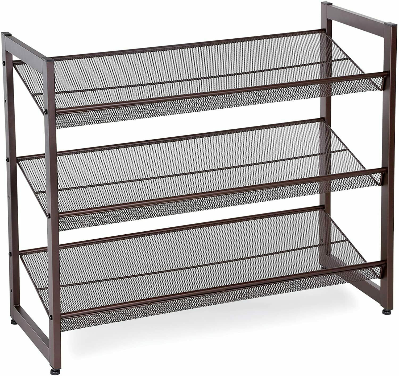 4 Tier Metal Shoe Rack Organizer Storage Tower Shelf w//2 Umbrella Hook 12-15Pair