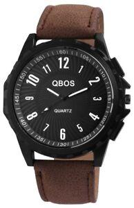 Qbos-Herrenuhr-Schwarz-Braun-Analog-Metall-Kunst-Leder-Armbanduhr-X-2900046-002