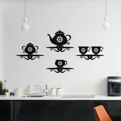 Kitchen Wall Stickers for Coffee Shop Art Decal Bar Dining Room Teapot Cups