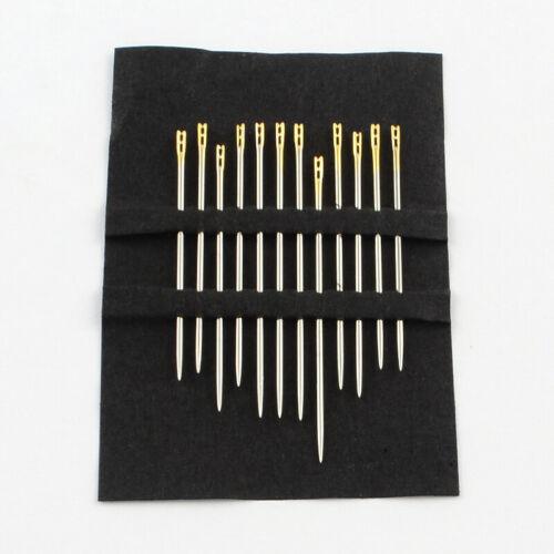 12pcs Self threading easy thread sewing needles mixed sizes set