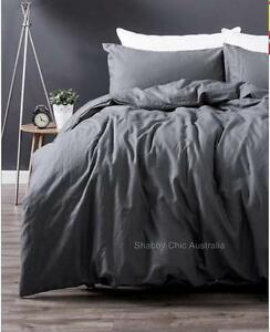 Image Is Loading Shabby Paris Chic Charcoal French Grey Linen King
