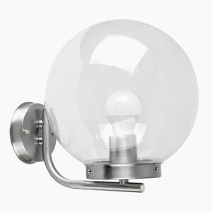 Modern-Chrome-Outdoor-Clear-Globe-Wall-Light-Patio-Garden-Lamp-Lighting-NEW