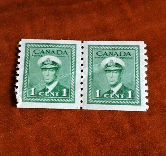 Canada 1948 #278 Perf 91/2 King Georges VI war issue coil pair Mint VF NH Bended