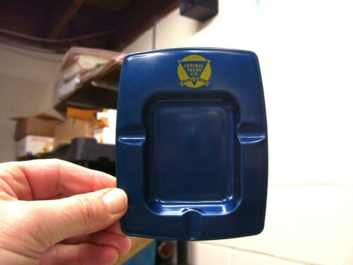ROCHESTER NY ART DECO METAL ASHTRAY ROYAL BLUE VINTAGE CENTRAL TRUST CO MINT
