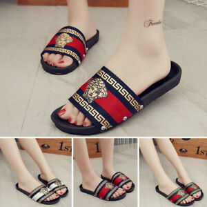WOMENS-LADIES-FLAT-SLIDERS-FASHION-SUMMER-SLIP-ON-MULES-SLIPPERS-SANDALS-SHOES