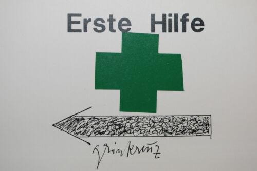 "hochwertige Kunstpostkarte JOSEPH BEUYS:/""Grünkreuz/"" Originalgrafik"