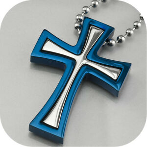 cross-pendant-men-039-s-stainless-steel-free-chain-necklace-silver-blue