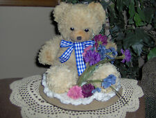 HIGHLY SCENTED WAX DIPPED BEAR ON CROCHETED DOILY & DECORATED. U PICK FRAGRANCE