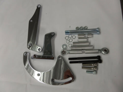 A//C COMPRESSOR AND POLISHED ALUMINUM BRACKET FOR SB CHEVY DRIVER SIDE