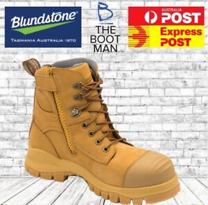FREE-EXPRESS-POST-Blundstone-992-Steel-Toe-Safety-Zip-Work-Boots-Wheat-150mm