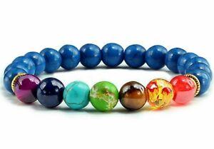 7 Chakra Bracelet Genuine Crystal Real Gemstone Healing Reiki & Gift Bag