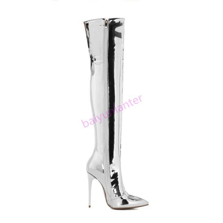 2018 Lady Stiletto High Heel Over The Knee High stivali Pointy Toe scarpe Zipper sz