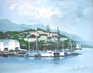 Details about Plein Air Painting San Francisco Sausalito CA Yacht Harbor  Boat House Vintage