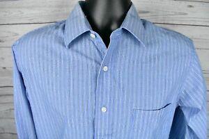 Chaps-Blue-Striped-Long-Sleeve-Wrinkle-Free-Dress-Shirt-Mens-Size-15-5-34-35