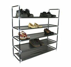 Negro-5-niveles-Estante-Organizador-Rack-de-almacenamiento-de-zapatos-para-25-pares-de-zapatos-88cm