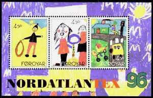 Faroe-Islands-1996-Nordatlantex-Childrens-Art-Mini-Sheet-UNM-MNH