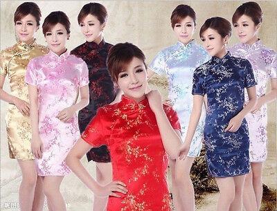 7 Colors Chinese women's silk mini dress Qipao Cheongsam Sz: S M L XL 2XL 3XL