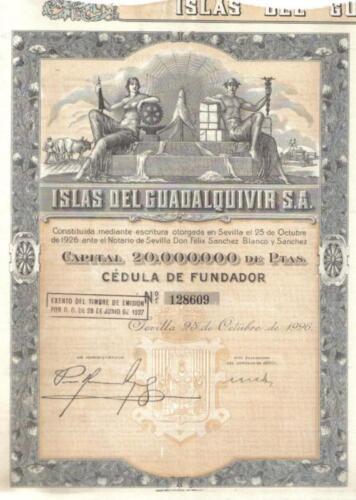 Original Spain Bond 1926 Islas Guadalquivir Deco coupon