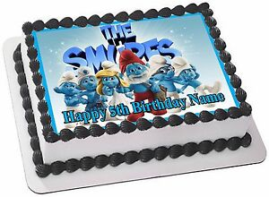 Peachy Smurfs Edible Cake Topper Party Image Frosting Sheet Funny Birthday Cards Online Overcheapnameinfo