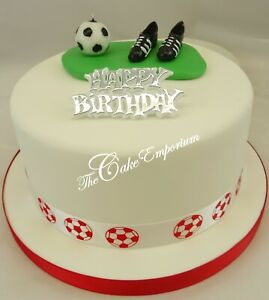 Enjoyable Football Boots Ball Birthday Cake Topper With Birthday Motto And Funny Birthday Cards Online Alyptdamsfinfo