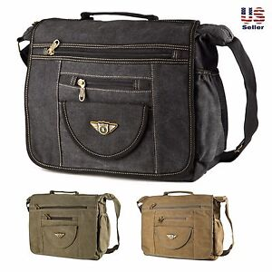 Image Is Loading Aerlis Classic Canvas Cross Body Messenger Bookbag Shoulder