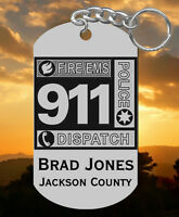 Steel 911 Dispatcher Keychain Gift, Engraved Free With Name & Dept