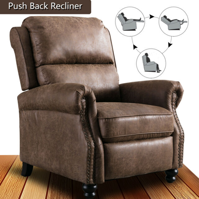 Contemporary Recliner Chair Padded Seat Push Back Single Lounge Sofa Home Decor