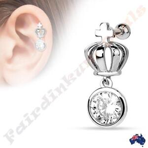 Silver-Ion-Plated-Crown-with-Round-Clear-CZ-Dangle-Tragus-Cartilage-Stud