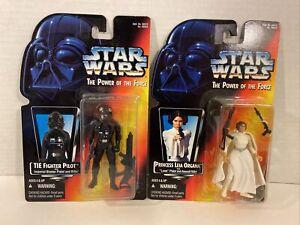 Star-Wars-POTF-Lot-of-2-PRINCESS-LEIA-ORGANA-amp-TIE-FIGHTER-PILOT-Kenner-MOC