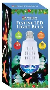 Christmas-Workshop-LED-Projector-Bulb-Festive-Party-Light-Animated-Icons-B22-Cap