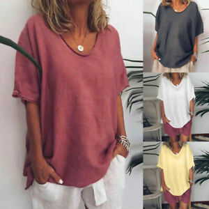 Women-Casual-Summer-Solid-Linen-Short-Sleeves-Plus-Size-Top-T-Shirt-Blouse-S-5XL