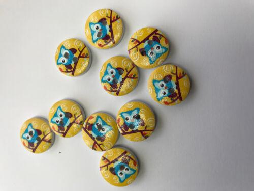 10 Gufi Blu su uno sfondo Giallo Bottoni in Legno .15mm accessori per cucire