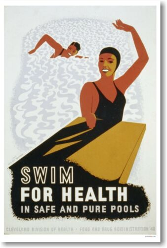 Swim For Health in Safe /& Pure Pools New Vintage 1940 WPA Art POSTER