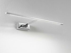 Applique plafoniera lampada parete LED moderna acciaio cromato bagno specchie...