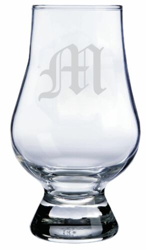 """Monogrammed Old English /""""M/"""" Engraved Glencairn Crystal Scotch Whisky Glass"""