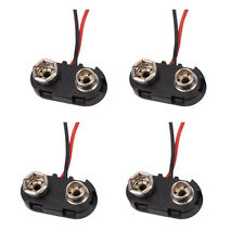 "New 4pcs 9V 9 Volt T-Shaped Battery Connector Hard Shell Snap Clip+6"" Leads Wire"