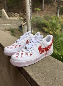 Details about Dripping Red Supreme Nike Air Force Ones