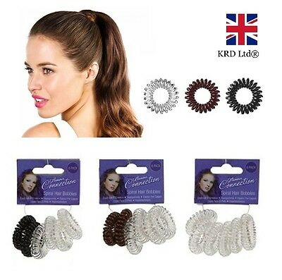 SPIRAL HAIR BOBBLES Girls Baby Ponytail Stretchy Plastic Bobble School Bands UK